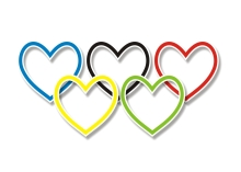 Rainbow hearts in shape of Olympics logo