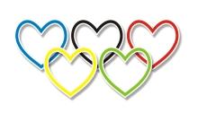 Rainbow hearts in shape of Olympics logo